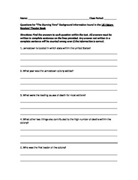 """The Starving Time"" Background Information Questions/US History Readers' Theatre"