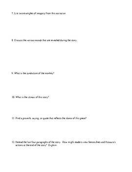 """The Stolen Party"" Assessment or Worksheet and Detailed Answer Key"