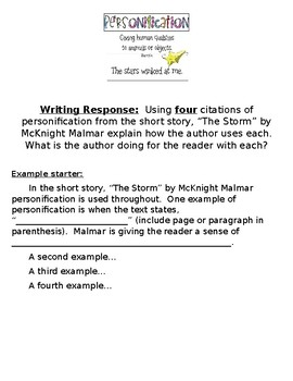 """The Storm"" by McKnight Malmar short story personification writing response"