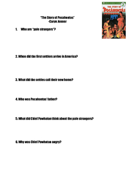 """""""The Story of Pocahontas"""" Comprehension Questions"""