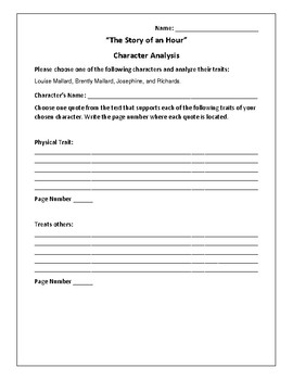 """""""The Story of an Hour"""" Character Analysis Activity - Kate Chopin"""