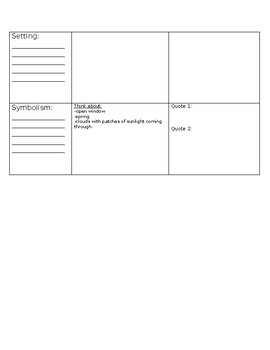 """""""The Story of an Hour"""" by Kate Chopin Literary Device Graphic Organizer"""