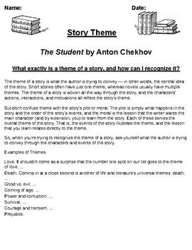 """""""The Student"""" by Anton Chekhov Theme Worksheet"""