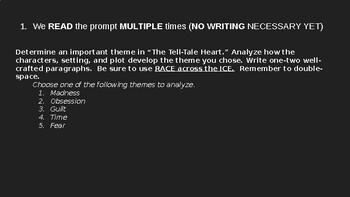 """The Tell-Tale Heart"" Open Ended Response Writing Tips ppt"