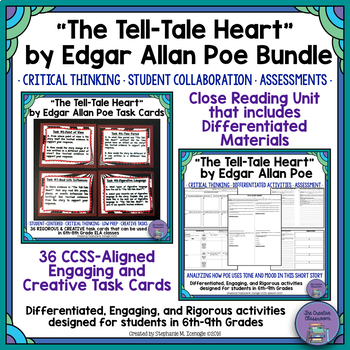 """The Tell-Tale Heart"" by Edgar Allan Poe Bundle Close Reading Unit & Task Cards"