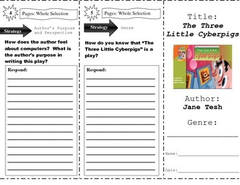 """""""The Three Little Cyberpigs"""" Comprehension Trifold (Storytown Lesson 8)"""