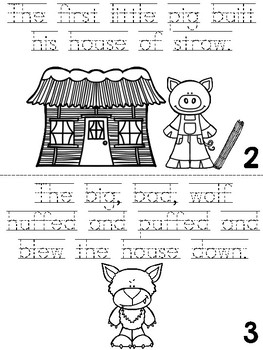 """The Three Little Pigs"" Cut, Trace & Color Printable Book!"