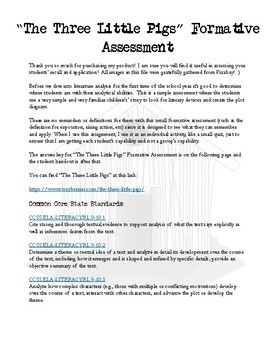 """""""The Three Little Pigs"""" Mini Formative Assessment"""
