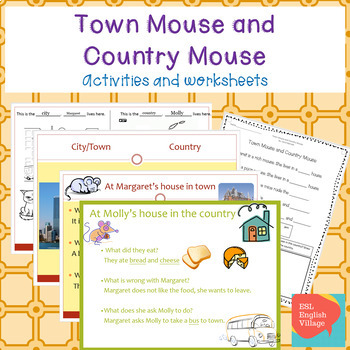 """""""The Town Mouse and Country Mouse""""  Powerpoint, Smartboard and worksheets"""