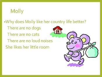 Town Mouse and Country Mouse  PowerPoint, Smart board games and worksheets