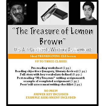 The Treasure Of Lemon Brown Analysis Vocabulary Writing Assignment ANSWERS