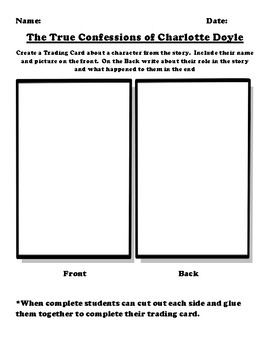 """""""The True Confessions of Charlotte Doyle"""" Trading Card Worksheet"""