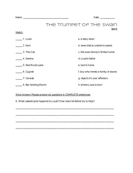 """""""The Trumpet of the Swan"""" - QUIZ"""