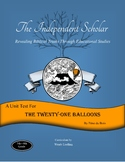 """""""The Twenty-One Balloons"""" Unit Test and Answer Key"""