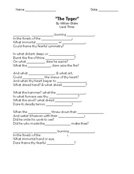 """The Tyger"" Memorization Worksheets"