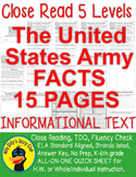 """""""The U.S. Army FACTS"""" Close Read 5 level passages Info Text 15 pages+(Freebie)"""