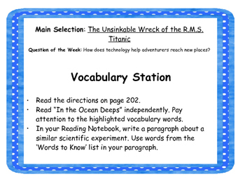 """The Unsinkable Wreck of the RMS Titanic"" Reading Street Station Task Cards"