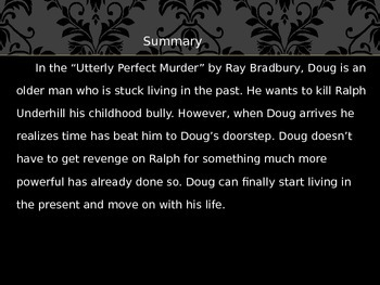 ray bradbury s the utterly perfect murder Watch the ray bradbury theater - season 6 episode 6 - the utterly perfect murder on tvbuzer a man seeks revenge on a bully from his childhood.