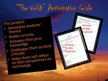 """The Veldt"" Anticipation Guide Free"