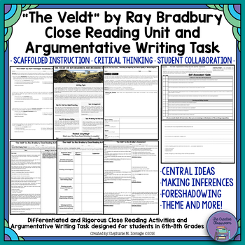 """The Veldt"" by Ray Bradbury Close Reading & Argumentative Writing Task Unit"