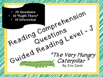 """""""The Very Hungry Caterpillar""""  20 reading comp questions; Level J"""