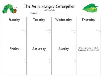 """The Very Hungry Caterpillar"" Sequencing (Using weekdays)"