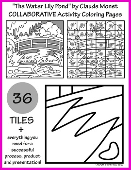 the water lily pond by monet collaborative activity coloring pages