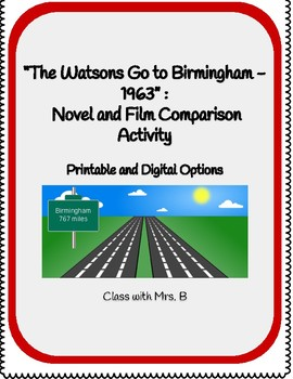 """The Watsons Go to Birmingham"" - Movie Comparison Activity"