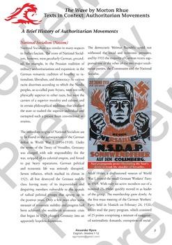 """The Wave"" - Morton Rhue / Todd Strasser - Rise of Fascism Context Worksheet"