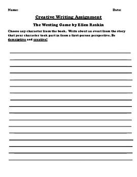 """The Westing Game"" by Ellen Raskin Creative Writing"