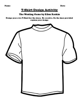 """The Westing"" Game by Ellen Raskin T-Shirt Design Worksheet"