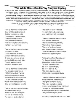 """The White Man's Burden"" by Rudyard Kipling"