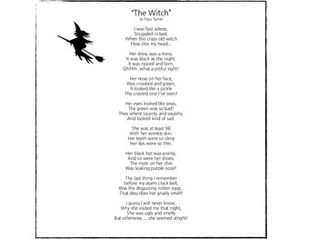 The Witch' Halloween themed poem for adjectives and sensory words.