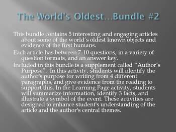 """The World's Oldest..."" Bundle #2: Animal, Dogs, Footprint, Murder, Tools"
