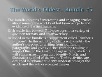 """""""The World's Oldest..."""" Bundle #5: Cold Case, Footprint, Story, Religon, Weapon"""