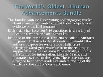 """The World's Oldest...Human Advancements"" Bundle: Tools, Art, Fire, Music, Laws"