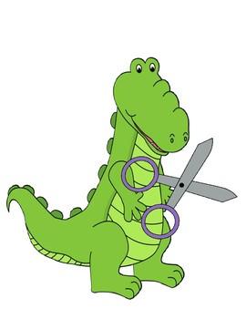"Verb + ing ""The alligator is cutting..."" sentence frame"