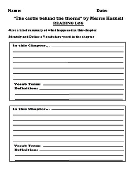 """""""The castle behind the thorns"""" by Merrie Haskell Worksheet Packet"""