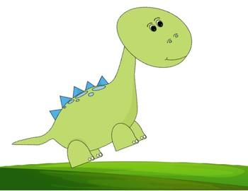 """Verb + ing """"The dinosaur is stomping..."""" sentence frame."""