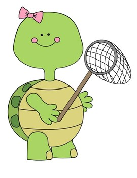 """Verb + ing """"The turtle is catching..."""" sentence frame"""