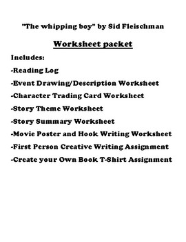 """The whipping boy"" by Sid Fleischman Worksheet Packet"