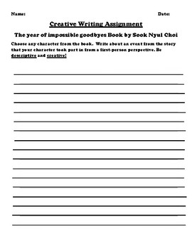 """""""The year of impossible goodbyes"""" by Sook Nyul Choi Creative Writing"""