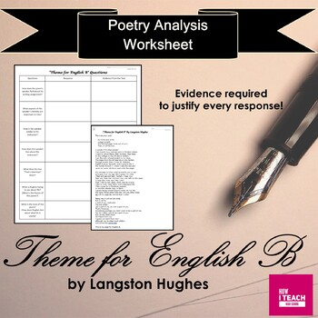 """""""Theme For English B"""" Langston Hughes- Analysis Using Evidence from the Poem"""
