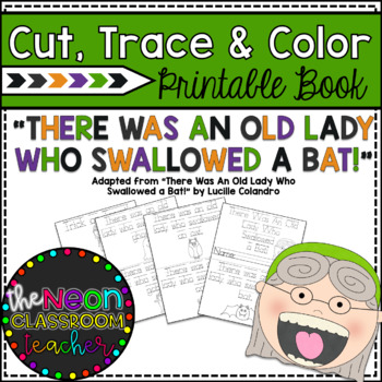 """There Was an Old Lady Who Swallowed a Bat!""  Cut, Trace, & Color Printable Book"
