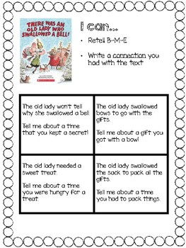 """There Was an Old Lady Who Swallowed a Bell"" Writing Connection"