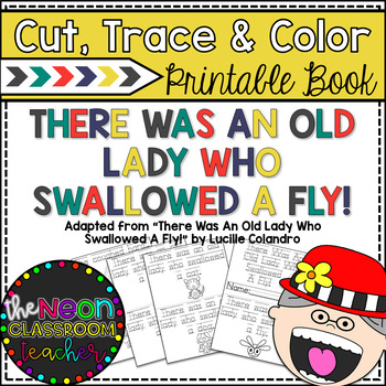 """""""There Was an Old Lady Who Swallowed a Fly"""" Cut, Trace & Color Printable Book!"""