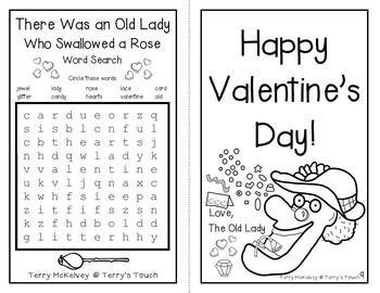 """There Was an Old Lady Who Swallowed a Rose"" Literacy, Math & Valentine's Fun"