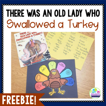 """There Was an Old Lady Who Swallowed a Turkey"" Sequencing Activity FREEBIE"