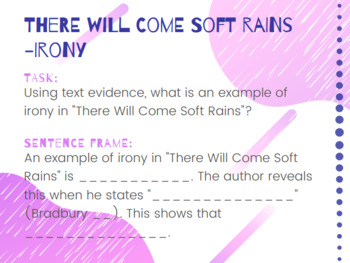 """""""There Will Come Soft Rains"""" Post Questions/Task Cards"""