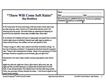 """There Will Come Soft Rains"" by Ray Bradbury: Annotation Organizer"
